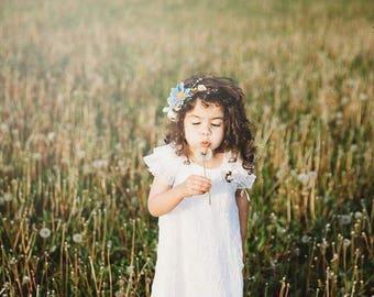 Flower headband Blue-white combination Romantic headband for woman or girl Floral headband Wedding headband Headband for bride