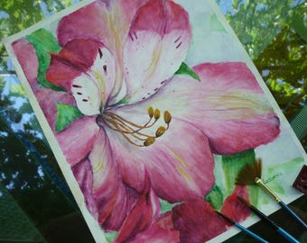 flowers painting, Watercolor flowers, art bride gift, watercolor art, aquarelle art, Wedding gift, Original Watercolor Painting, gift idea