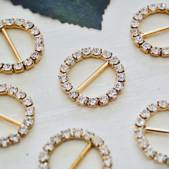 Gold Round Rhinestone Buckles for Invitations or Decoration with 15mm bar