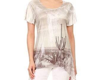 Women Cactus Desert Brush Dipped Uneven Hem Short sleeve Round neck Top