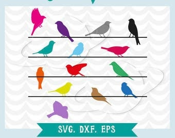 Birds on a wire svg, dxf, ai, eps. Sparrows on a wire svg. Canaries on a wire svg.