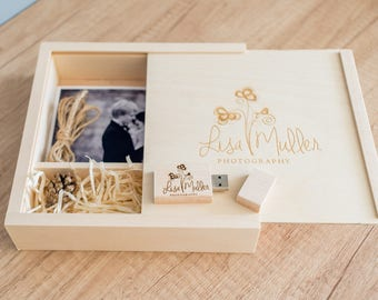 "Wooden photo box for 5""x7""  (15x20cm) + USB Flash Drive 8GB, 16GB, 32GB with logo engraved or other tex"