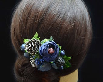 Flower hair clip Blue Bridesmaid hair accessories Wedding hair clip Bridal hair clip Flower girl hair clip Gift for her Rustic wedding blue