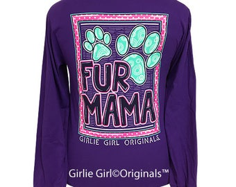 Girlie Girl Originals Fur Mama Long Sleeve Purple T-Shirt