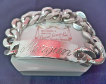 A superb vintage chunky and heavy 'Morgan' & 'Grandad' ID bracelet - 925 - sterling silver - Full UK hallmark - 87.8 grams - 7.5""