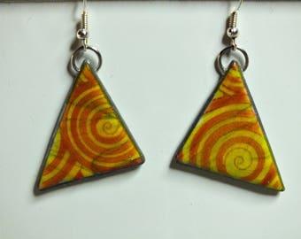 Boucles d'oreilles en triangle et spirale