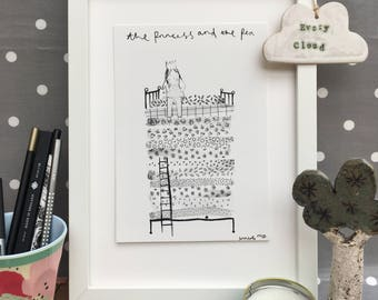 The Princess and the Pea, A5 watercolour illustration, black & white