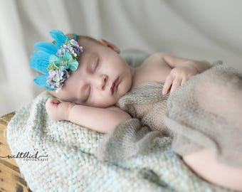 Set:Baby wrap and baby headband - Türkis