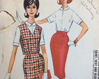 McCall's 6022 misses vest, skirt & blouse size 14 bust 34 waist 26 vintage 1960's sewing pattern