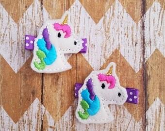 Unicorn hair clips, unicorn clippies, unicorn clippie set, felt hair clips, toddler hair clips, girls hair clips, hair clips, unicorn bows
