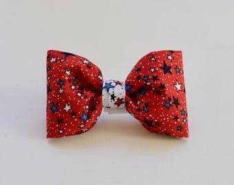 Patriotic Stars Dog Bow Tie  || Monogram Preppy Bowtie || Custom Gift by Three Spoiled Dogs