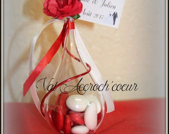 100 romance red and white candy containers