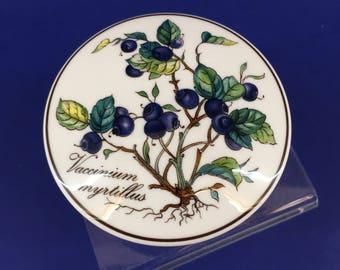 "Villeroy Boch Botanica Vaccinium Myrtillus Porcelain Candy Trinket Box w/Lid Blueberry 3"""