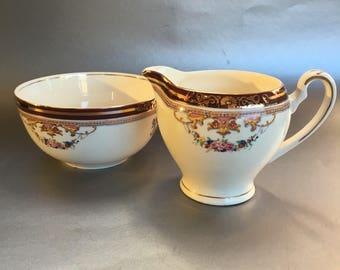 Antique Alfred Meakin England Bleu de Roi China Sugar Bowl & Cream Pitcher
