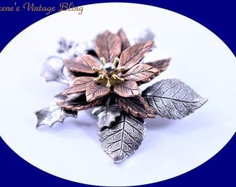 Vintage Copper Brooch Copper Leaf Brooch Vintage Copper Pin Copper Jewelry Vintage Brooch costume Jewelry  Vintage Jewelry Vintage Brooch