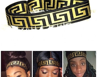 Queen Headband, Black and Gold Greek Pattern