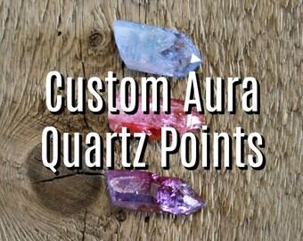 Custom aura quartz, wholesale aura quartz, ethical minerals, Arkansas quartz, rose aura quartz, blue aura quartz, ruby aura quartz, boho