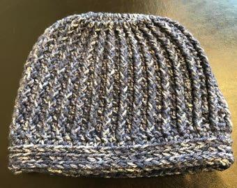 """Textured """"Gina"""" Messy Bun Hat in Denim"""