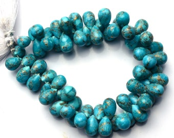 Natural Gemstone Mojave Blue Copper Turquoise 10x8MM Approx. Smooth Teardrop Shape Briolette Beads 8 Inch Strand Super Quality Hand Polished