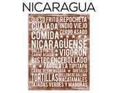 Nicaragua Food Subway Art Print - Nicaraguan Food Poster - Various Sizes & Colors
