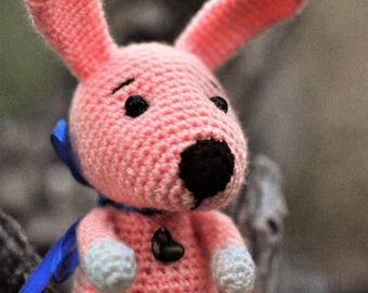 Little peach crochet bunny rabbit dog  big nose. Crochet toy hare with bow.