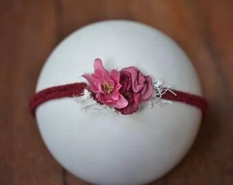 Pink and Burgundy Baby Headband, Newborn Tieback, Flower Headband