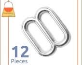 "5/8 Inch Slides for Purse Straps, Nickel Finish, Handbag Purse Bag Making Supplies Hardware, 5/8"", 1/2 Inch 1/2"" Strap, 12 Pieces, BKS-AA010"