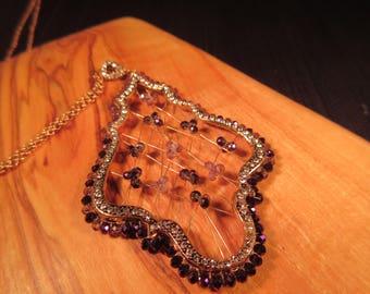 Boho Brass CZ Crystal Necklace