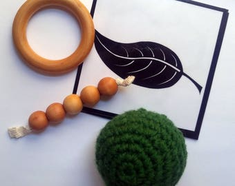 Baby's first Montessori inspired toys, natural, wooden, gift set
