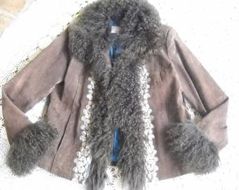 Mongolian Fur Premium Brown Suede Coat by Wilsons Leather Maxima in a versatile size XL, accent beaded embroidery down front, luxurious
