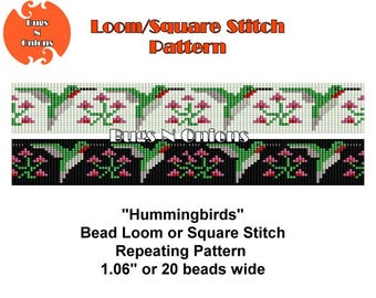 Hummingbirds, Loom or Square Stitch Repeating Pattern, Hat Band, Beaded Belt, Instant Download, Digital Pattern