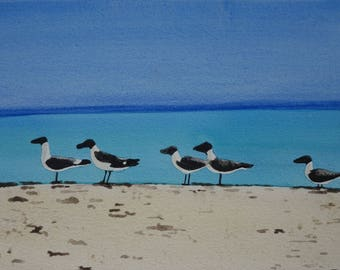 Animal watercolor: geese on the beach