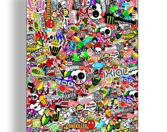 RC Car Truck Graffiti Sticker Bomb Sheet Car Truck Body Shell 1/10th Scale Wrap Full Color Printed Graphics Decals