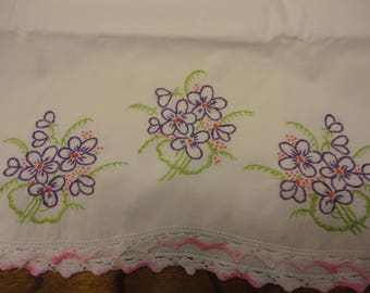 1 pillow case with purple pansies