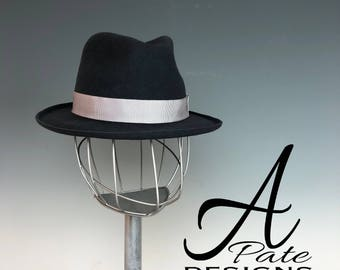 Classic Fedora Handblocked in Dark Gray wool w curled edge brim-Jazz Hat, Kentucky Derby Hat, Easter Hat, Royal Ascot Hat, Couture Millinery