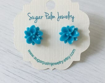 Tropical Flower Earrings - Sky Blue Lotus Flower