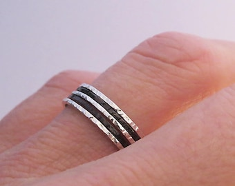 Set of 5 Super Thin Rings, Oxidized Rings, Shiny Mixed Stacking Rings, 925 Sterling Silver Rings, Hammered Rings, Thin Silver Rings