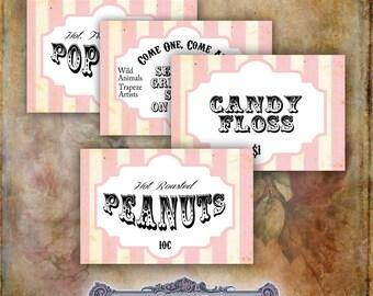5 Pink Circus Labels