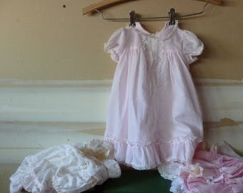 Vintage Baby Dresses AS IS / Large Doll Clothes / Scrap Fabric / Photo Prop