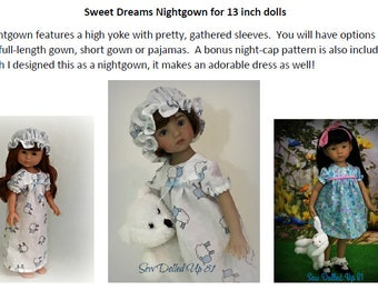 Sweet Dreams Nightgown pattern for 13 inch dolls