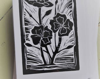 Carnation lino-cut card