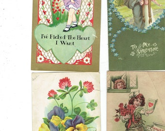 4 vintage 1933  valentines beautiful pictures.