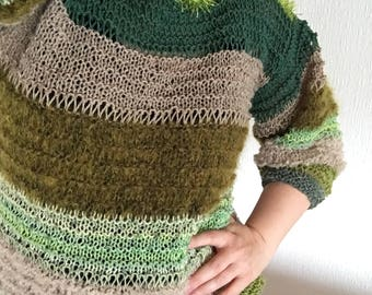Sweater Knit Knitted Handmade Unique Color Green