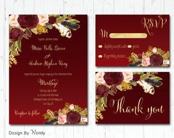 Burgundy and gold wedding invitation printable set, marsala wedding invitation suite burgundy watercolor flowers, floral boho peonies BGF1