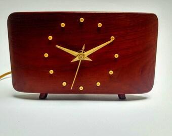 Vintage mid century teak table desk clock