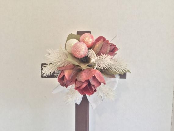 Christmas Cross with flowers, Cemetery Cross, Grave flowers, Roadside Memorial, Grave Marker, Memorial Cross, Floral Memorial