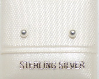 Ball 2mm Stud Earring .925 Sterling Silver - 2mm Ball Studs .925 Sterling Silver