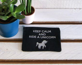 """Wallet - coin """"Keep calm and ride a unicorn"""" black and silver, handmade by Persephone"""