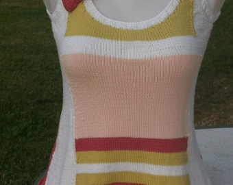Multicolor tank for women 38 knitted cotton
