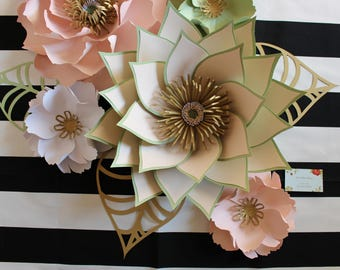 Baby nursery wall decor, paper flowers for  nursery, large paper flower wall, nursery wall art, Sage green paper flower, Blush paper flowers